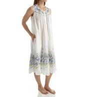 La Cera Sleeveless 100% Cotton Border Print Gown 1209G